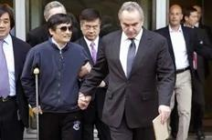 A handout photo from US Embassy Beijing Press office shows blind activist Chen Guangcheng (2nd L) being accompanied by U.S. Assistant Secretary of State for East Asian and Pacific Affairs Kurt Campbell (front R) and U.S. Ambassador to China Gary Locke (C), in Beijing, May 2, 2012.